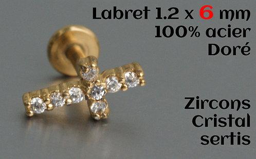 Labret croix zircons cristal sertis or