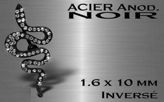 Piercing nombril Serpent Black  Multi Strass