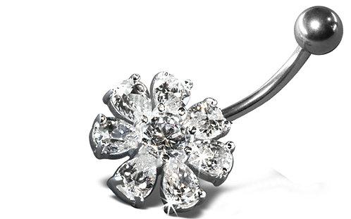 Piercing nombril fleur diamant en argent 925