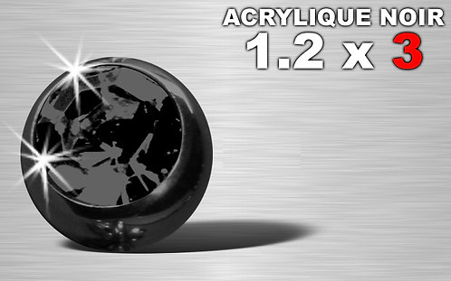 Boule acrylique noire 1.2 x 3 - strass noire
