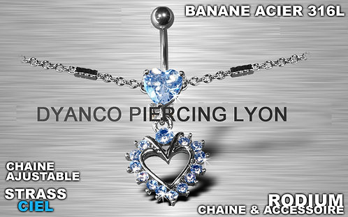 Piercing nombril chaîne tour de taille cœur