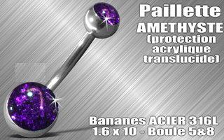 Nombril acier paillette amethyste