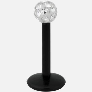 Labret black boule cristal epoxy diamant