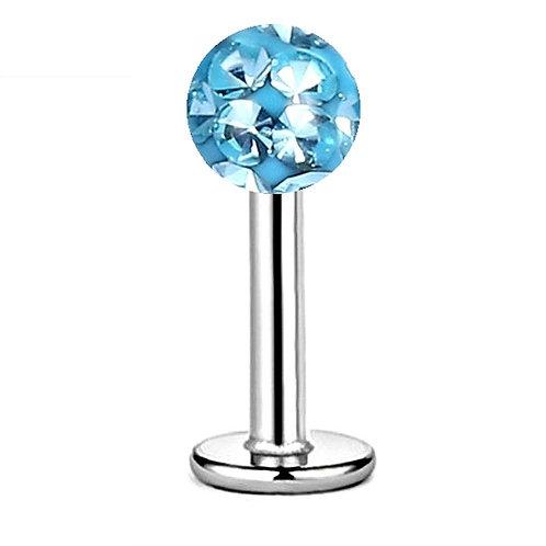 Labret boule cristal epoxy bleu aqua