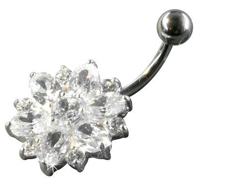 Piercing nombril fleur diamant plaque argent
