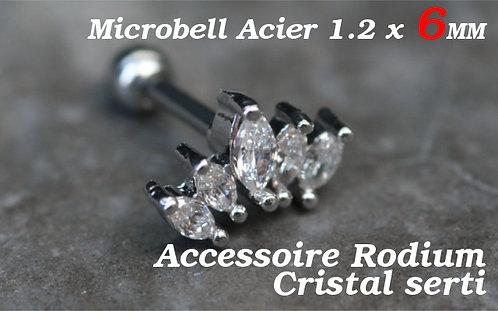 Piercing cartilage 5 cristaux argent
