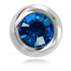 Boules acier avec strass bleue