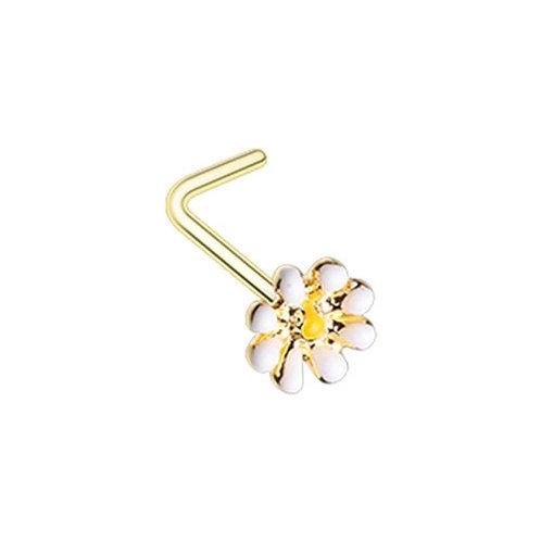 Piercing nez fleur or jaune