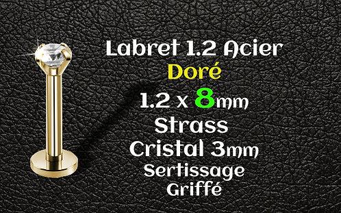 Labret acier dore 8 mm diamant