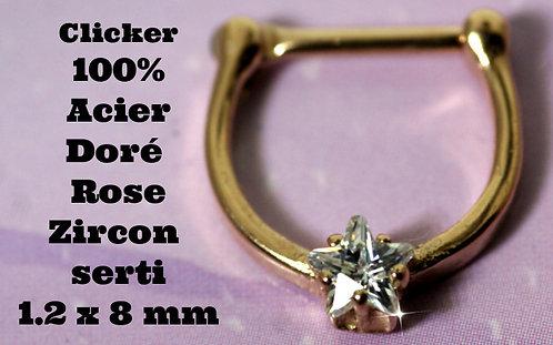 Septum - Helix - Daith doré rose étoile