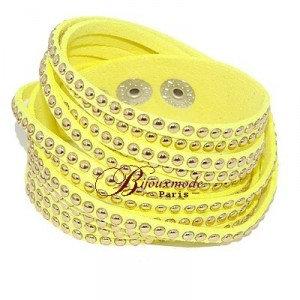 Bracelet fantaisie multi rangs jaune