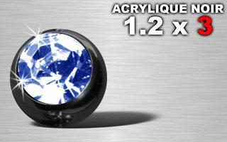 Boule acrylique noire 1.2 x 3 - strass bleu