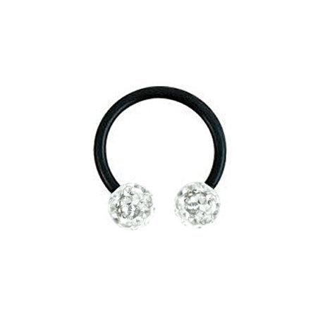 Piercing anneau fer à cheval noir avec boules cristal blanc
