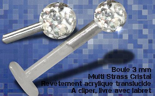 Labret multi strass diamant