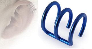Triple faux anneaux bleu pour l oreille