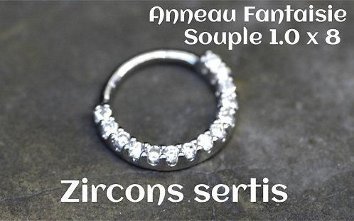 Anneau souple acier multi strass 8 mm-zirconium