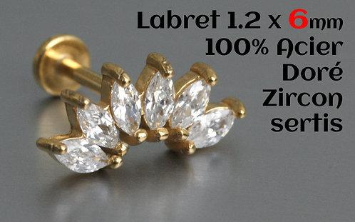 Labret 6 mm zircons cristal 6 cristaux sertis