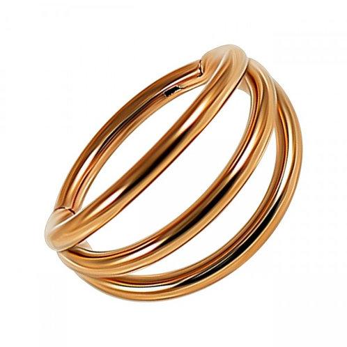 Clicker triple anneaux acier doré or rose