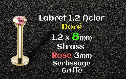 Labret acier dore 8 mm rose