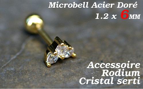 Piercing cartilage 3 cristaux or