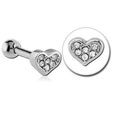 Piercing Tragus - Helix cœur avec brillant diamant