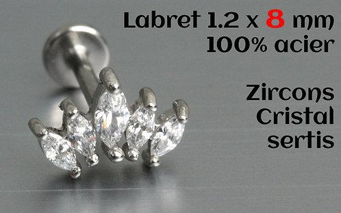 Labret acier zircons cristal sertis