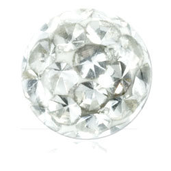 Boules multi strass cristal 1.2 x 3.5 mm blanc