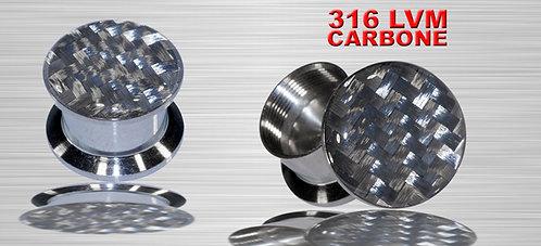 Plug nacré en carbone tressé 6 et 8 mm