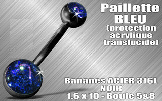 Nombril paillette bleu
