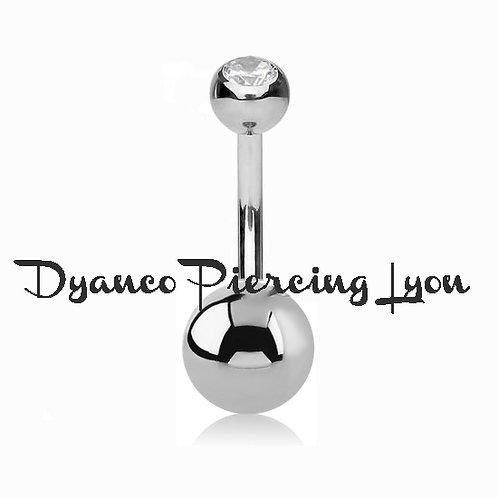 Piercing nombril double boule acier 8 et 5 mm strass diamant