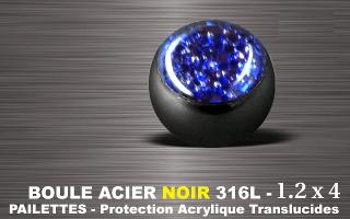 Boules acier 316 L Noir  1.2 x 4 mm  bleue