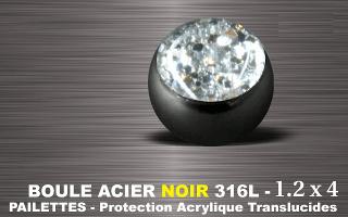 Boules acier 316 L Noir  1.2 x 4 mm blanc