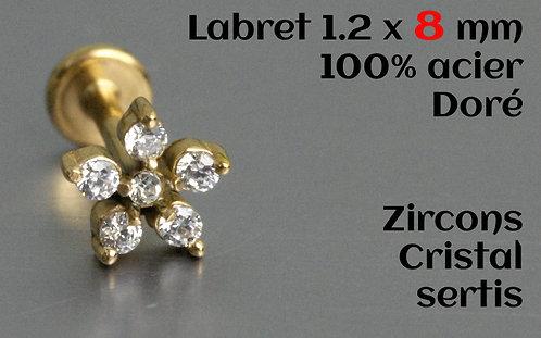 Labret dore zircons cristal sertis 8mm