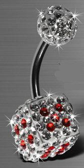 Nombril Des Cristal de Swarovski rouge