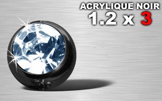 Boule acrylique noire 1.2 x 3 - strass ciel