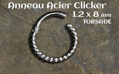 Anneau clicker acier torsade 8 mm