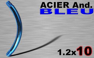 Bananes acier 316L anodise bleu 1.2 x 10 mm