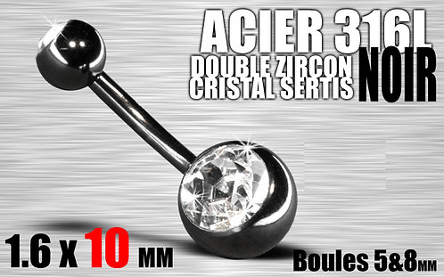 Nombril anodise noir double strass