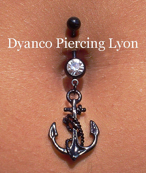 Piercing nombril ancre black