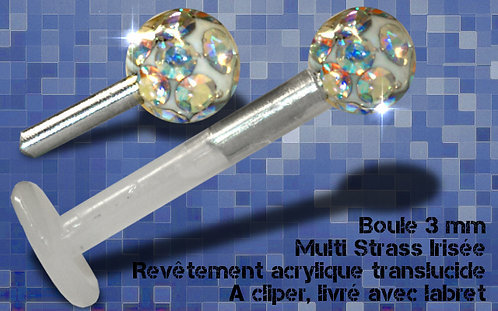 Labret multi strass irise