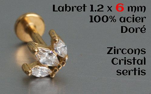 Labret doré zircons 3 cristaux sertis