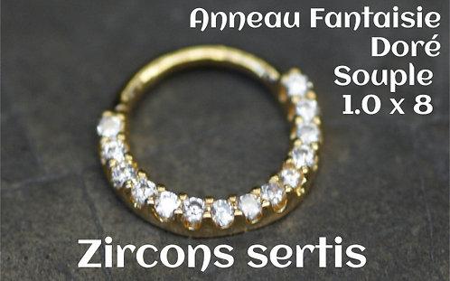 Anneau souple multi strass 8 mm-zirconium