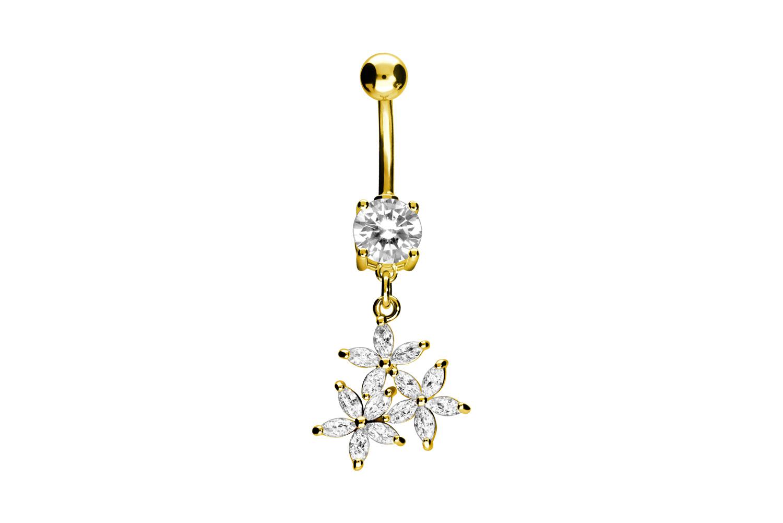 Nombril luxe 3 fleurs cristal