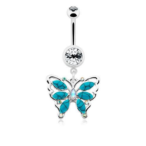Vente piercing nombril papillon vintage turquoise