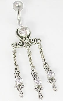 Bali Sterling Silver Raindrop Belly Button Ring