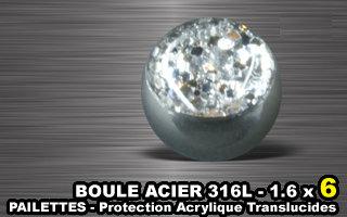 Boules acier 316 L pour tige de 1.6 mm