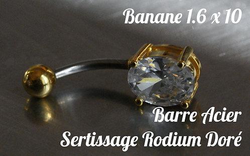 Piercing nombril zircon serti ovale diamant