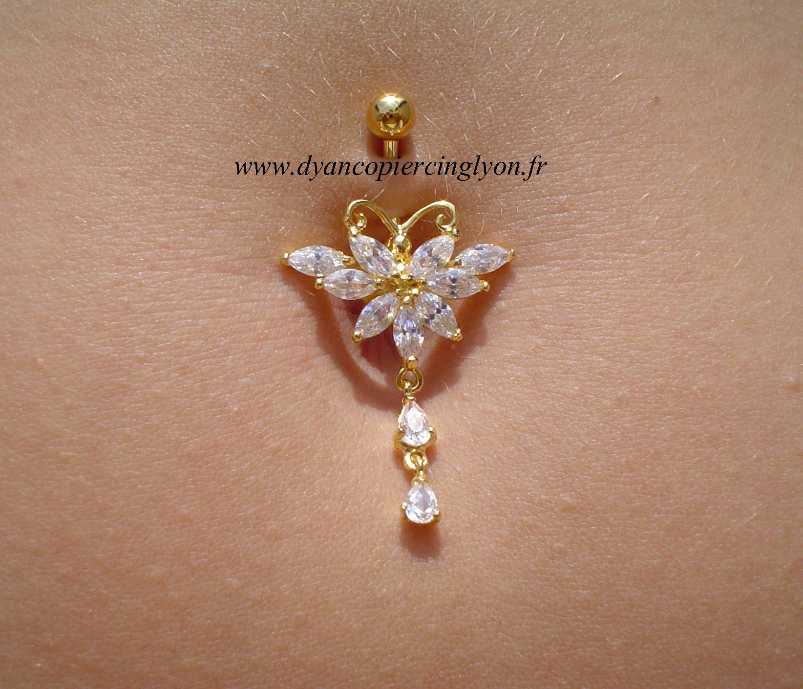 Piercing nombril fleur argent et or pendentif g