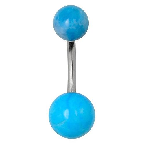 Vente piercing nombril boules turquoise