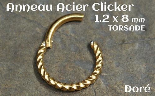 Anneau clicker acier dore torsade 8 mm